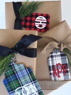 Holiday Plaid Monogrammed Gift Tags, Set of 10 Identical Creative Gift Wrapping, Creative Gifts, Wrapping Ideas, Christmas Gift Wrapping, Holiday Gifts, Hostess Gifts, Plaid Christmas, Christmas Crafts, Christmas Ideas