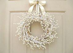 Door Wreath, Wedding Wreath, Pearl Berry Wreath for Front Door Decor