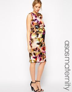 ASOS Maternity Bodycon Dress with Double Layer in Photographic Floral Print