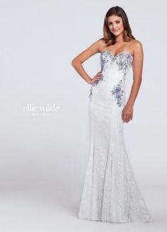 Ellie Wilde for Mon Cheri EW117019 Beaded Lace Prom Dress