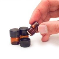 Perfect for Essential Oil Samples -1/4 Dram Amber Glass Vials with Orifice Reducers & Black Caps (Box of 144)
