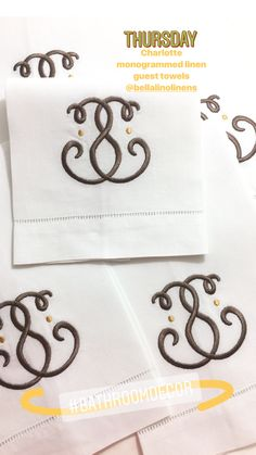 Charlotte monogrammed linen guest towels are a perfect finishing touch to a powder room. www.bellalino.com