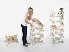 The Stockwerk bookshelf is delivered flat, then unfolds to full height--no tools required--brilliant!