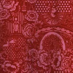 313064 Red Flock Floral Toile - Eijffinger Wallpaper