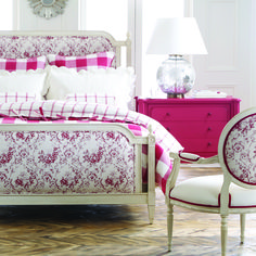 Love thisss;; Nothing brightens up a room like hot pink dresser paired with the Francesca Chair in an impressive pink fabric.