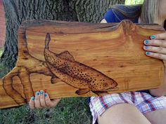 Wildlife pyrography, Trout Home Decor, Woodburning On Butternut Wood