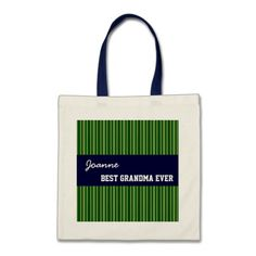 Best Grandma Custom Name Green Stripes and Navy Canvas Bag   To see more customizable striped Jaclinart gift items:   http://www.zazzle.com/jaclinart+striped+gifts?st=date_created&ps=120  #stripes #striped #pattern #jaclinart #design #create