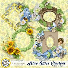 Blue Skies Clusters - $1.79 : Digital Scrapbooking Studio part of the Blue Skies Collection by #ADBDesigns