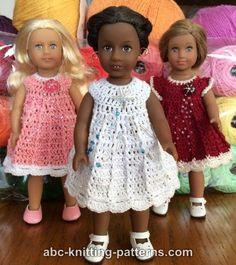 ABC Knitting Patterns - Mini American Girl Doll Post Stitch Dress