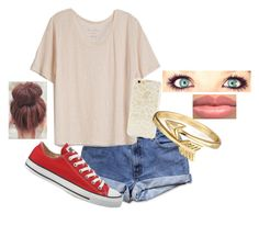 """Untitled #466"" by dancesoftball ❤ liked on Polyvore featuring mode, Fine Collection, Converse, Forever 21 en Bling Jewelry"