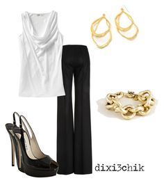 """Heels"" by dixi3chik ❤ liked on Polyvore featuring Fendi, Old Navy, J.Crew, Jimmy Choo and Alexis Bittar"