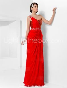 Sheath/Column One Shoulder Floor-length Chiffon And Sequined Evening/Prom Dress - GBP £ 76.41