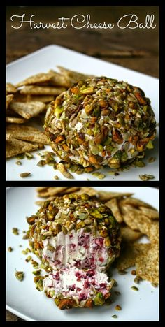 Harvest Cheese Ball - made with goat & cream cheese. Craisins give it a pop of color inside and the outside is jeweled with Fall & Winter nut favorites.