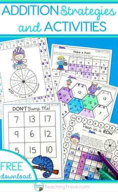 Teach addition strategies to your first grade students. Use the addition flip book to teach strategies such as count ons, doubles, near doubles, making a ten. Practice each strategy with five fun and motivating printables. This math pack is perfect for developing fact fluency in your first grade students. #mathgames #additionstrategies