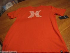 Boy's Youth Hurley L large T shirt surf skate burnt orange side logo NEW V neck