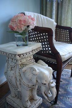 Elephant Garden Stool used as a side table