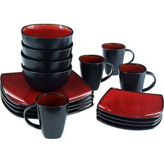 Gibson Home Soho Lounge Square 16 Piece Dinnerware Set Dining Microwaveable Red Dinnerware Sets Walmart, Dinnerware Sets For 12, Square Dinnerware Set, Dinnerware Ideas, Soho Lounge, Gibson Home, Italian Interior Design, Stoneware Dinnerware, Red Dinnerware