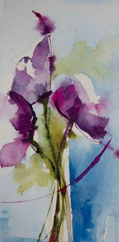Petit instant N° 309 (Painting), 20x10 cm par Véronique Piaser-Moyen Aquarelle originale sur papier 300 G