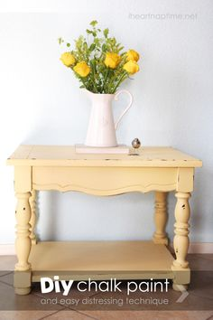 Use DIY chalk paint and this Vaseline distressing technique for a shabby chic look.