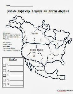 Students can identify the Native American regions. Extension: Students can create their own map of Native American regions, and create their own key. Native American Map, Native American Lessons, Native American Projects, American History Lessons, American Indians, American Art, 3rd Grade Social Studies, Teaching Social Studies, Teaching History