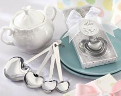 """Love Beyond Measure Stainless-Steel Measuring Spoons Baby Shower Favor by Kate Aspen. $6.95. 13028NA Features: -Heart-shaped. Construction: -Stainless steel construction. Dimensions: -Gift Box Dimensions: 5.75"""" H x 2"""" W x 1"""" D.. Save 30% Off!"""