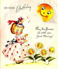 Vintage Birthday Card Little Girl Sunshine Flowers