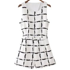 dd37ca88ff Black White Sleeveless Cross Back Ink Plaids Romper ( 30) ❤ liked on Polyvore  featuring