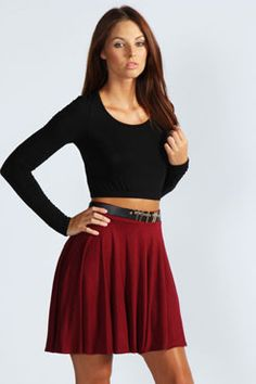 Carey Flippy Jersey Skater Skirt at boohoo.com