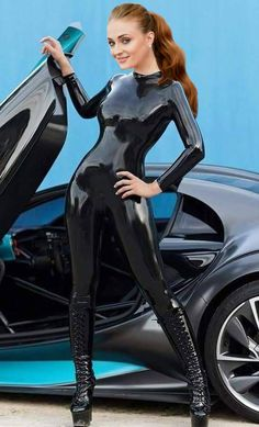 Sophie Turner latex Fake 02 (Black) by ourmonkeymasters.deviantart.com on @DeviantArt
