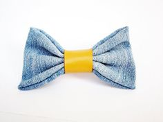 Denim textile bow french barrette hair clip blue and mustard yellow genuine leather band by Akamatra