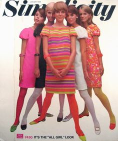 Molly Corby, Ulla Bomser, Lucy Angle, Colleen Corby and Shelley Hack for Simplicity, January 1968.