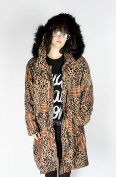 """Vintage Oversize Parka """"ANIMAL PRINT"""" Brown Black Leo Leopard Tiger Fauxfur Alternative Hipster Grunge Punk Hippie Boho Goth Jacket Coat von shttyfcky auf Etsy"""