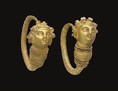 A PAIR OF GREEK GOLD MAENAD EARRINGS                                                                                                                                                                       HELLENISTIC PERIOD, CIRCA 1ST CENTURY B.C.