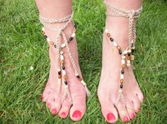 Tan Barefoot Sandals, Slave Anklet - Hand Crocheted, £9.99