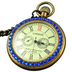 Luxury Antique 1856 Style Copper Blue Diamond 2 Sub-Dial Mechanical Pocket Watch Mechanical Pocket Watch, Modern Watches, Blue Crystals, Copper, Wristwatches, Luxury, Diamond, Detail, Antiques