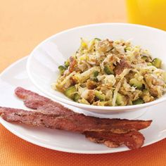 zucchini & potato scramble w/ bacon (carb lovers diet)