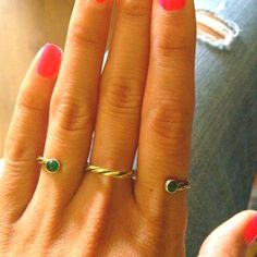Three finger ring with green cabochons made by ME