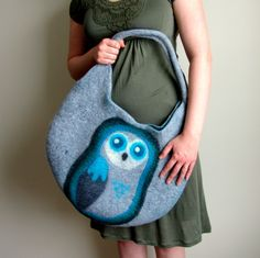 Owl Bag. Wet Felted Bag. Large Handmade Felt Tote.. $99.00, via Etsy.