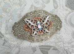 Silver Butterfly Clip Mixed Metal Hair Barrette by EarthToJill