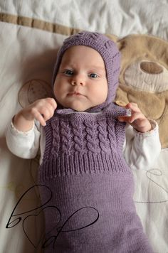 Hand Knit Baby Overalls Knitted Baby Girl Dungarees by belovedLT