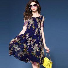 Vestidos Boho Summer Dress 2017 Chiffon Denim Xxxxl Plus Size Women Evening Party Long Large Printed Flower Dresses - Blue, XL