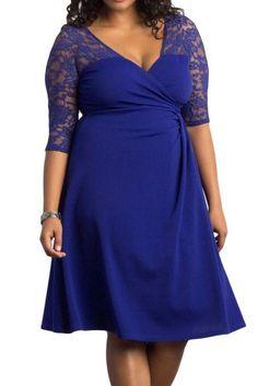 Robes Grandes Tailles Bleu Lavish Dentelle Mi-Manche #femmeronde  – Modebuy.com