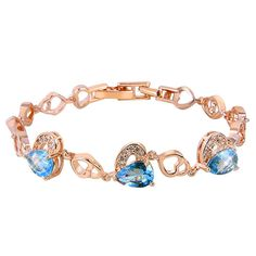 "Aaishwarya ""Sparkle Forever Collection"" AAA Grade Cubic Zirconia Shimmering Blue Hearts Bracelet. Product Price: 649/- #bracelet #braceletsforwomen #heartbracelet #CZbracelet #heartstonebracelet #chicjewelry #fashionjewelry"