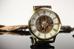 Mens Gear Face Watch - Gold Plated - Brown Leather Band