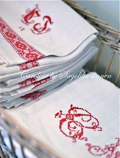 red and white linens