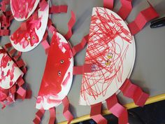 Crab craft for children- Crabs from folded paper plates.