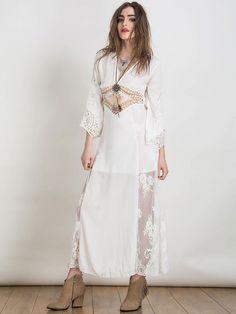 White Plunge Lattice Waist Sheer Lace Panel Backless Maxi Dress