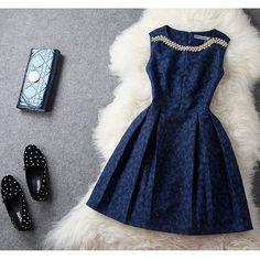 ★パーティーワンピ★ ダイヤ飾り フレアーワンピースドレス♪