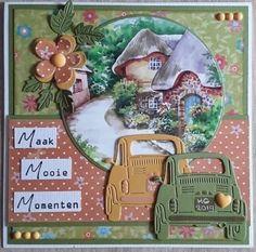 Car Card, Marianne Design Cards, 3d Cards, Vintage Cards, Birthday Cards, Marriage, Joy, Christmas Ornaments, Holiday Decor