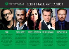 Irish Hall Of Fame 1 #Irish #Hollywood #Actor #Actress #Famous Dolores O'riordan, Conan O Brien, Temple Bar, Pierce Brosnan, Stage Name, Hollywood Actor, Irish, Actresses, Actors